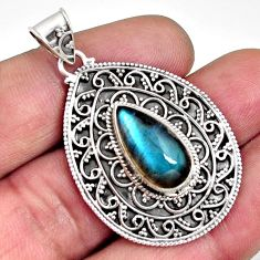925 sterling silver 6.42cts natural blue labradorite pear pendant jewelry r14694