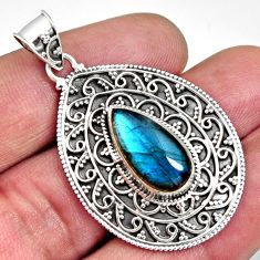 6.59cts natural blue labradorite 925 sterling silver pendant jewelry r14695