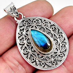 925 sterling silver 6.31cts natural blue labradorite pendant jewelry r14697