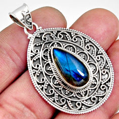 6.31cts natural blue labradorite 925 sterling silver pendant jewelry r14698