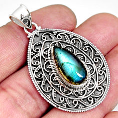6.42cts natural blue labradorite 925 sterling silver pendant jewelry r14700