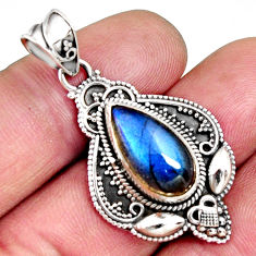 6.26cts natural blue labradorite 925 sterling silver pendant jewelry r14708