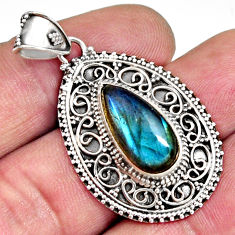 925 sterling silver 6.76cts natural blue labradorite pendant jewelry r14719
