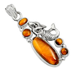 12.62cts natural brown tiger's eye 925 silver fairy mermaid pendant r15161