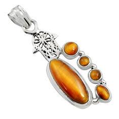 16.73cts natural brown tiger's eye 925 silver hand of god hamsa pendant r15165