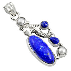 11.22cts natural blue lapis lazuli pearl 925 sterling silver fish pendant r15169