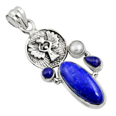 11.48cts natural blue lapis lazuli pearl 925 silver eagle charm pendant r15175