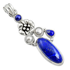 10.89cts natural blue lapis lazuli pearl 925 silver flower pendant r15176