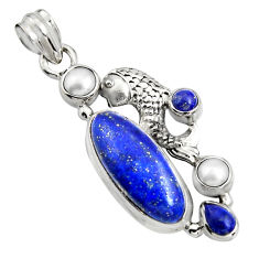 925 sterling silver 10.89cts natural blue lapis lazuli pearl fish pendant r15177