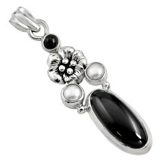 9.39cts natural black onyx pearl 925 sterling silver flower pendant r15182