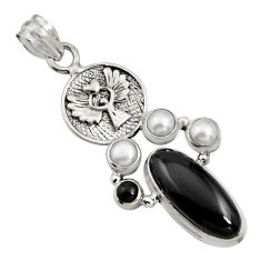 11.83cts natural black onyx pearl 925 silver eagle charm pendant r15183