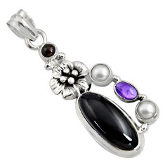 10.54cts natural black onyx amethyst 925 sterling silver flower pendant r15187