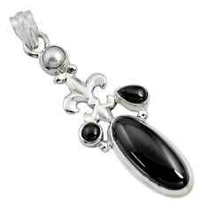 9.72cts natural black onyx pearl 925 sterling silver pendant jewelry r15193