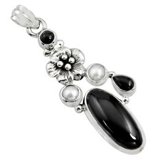 10.54cts natural black onyx pearl 925 sterling silver flower pendant r15194
