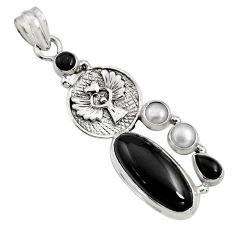 11.83cts natural black onyx pearl 925 sterling silver pendant jewelry r15195