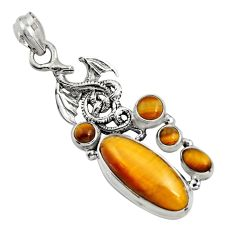 11.54cts natural brown tiger's eye 925 sterling silver dragon pendant r15198