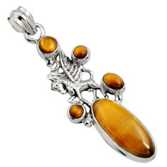 10.33cts natural brown tiger's eye 925 sterling silver unicorn pendant r15199
