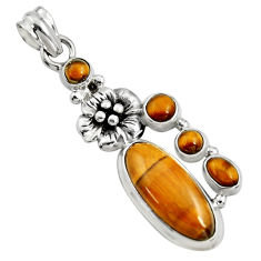 925 sterling silver 10.89cts natural brown tiger's eye flower pendant r15200