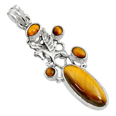 10.33cts natural brown tiger's eye 925 sterling silver unicorn pendant r15201