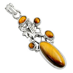 10.30cts natural brown tiger's eye 925 sterling silver unicorn pendant r15202