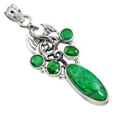 10.44cts natural green emerald 925 sterling silver dragon pendant jewelry r15206