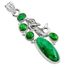925 sterling silver 11.02cts natural green emerald fairy mermaid pendant r15207