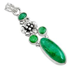 10.54cts natural green emerald 925 sterling silver flower pendant jewelry r15211
