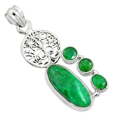 10.04cts natural green emerald 925 sterling silver tree of life pendant r15212