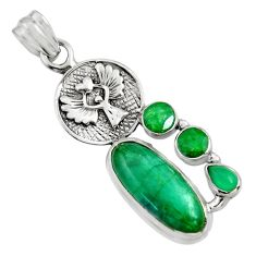 925 silver 11.22cts natural green emerald chalcedony eagle charm pendant r15213