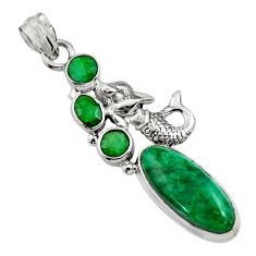 11.54cts natural green emerald 925 sterling silver fairy mermaid pendant r15214