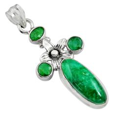 9.39cts natural green emerald 925 sterling silver flower pendant jewelry r15215
