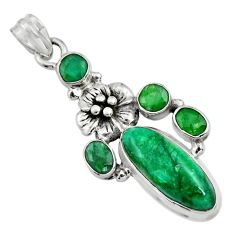 10.90cts natural green emerald 925 sterling silver flower pendant jewelry r15216