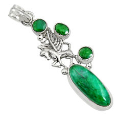 925 sterling silver 10.33cts natural green emerald oval unicorn pendant r15217