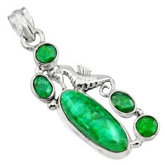 11.22cts natural green emerald 925 sterling silver seahorse pendant r15218