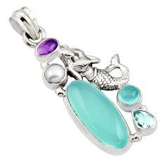 11.02cts natural aqua chalcedony pearl 925 silver fairy mermaid pendant r15221