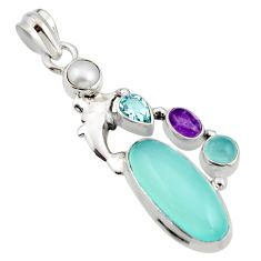 10.04cts natural aqua chalcedony amethyst 925 silver dolphin pendant r15222