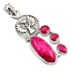 925 sterling silver 11.83cts natural red ruby eagle charm pendant r15237
