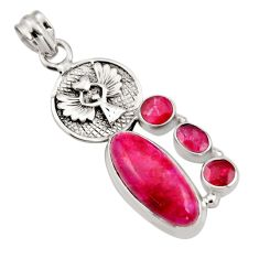 925 sterling silver 11.83cts natural red ruby eagle charm pendant r15240