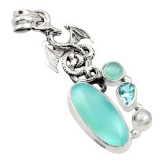 10.86cts natural aqua chalcedony topaz 925 sterling silver dragon pendant r15242