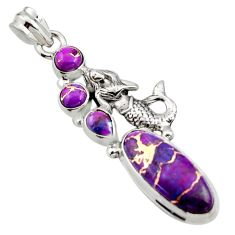 9.72cts purple copper turquoise 925 sterling silver fairy mermaid pendant r15247