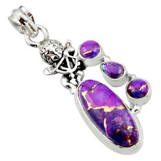 8.96cts purple copper turquoise 925 sterling silver angel pendant jewelry r15252