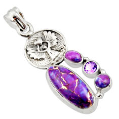 925 sterling silver 9.13cts purple copper turquoise topaz pendant jewelry r15259
