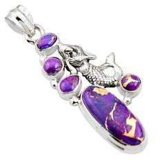 10.18cts purple copper turquoise 925 silver fairy mermaid pendant r15260
