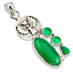 10.33cts natural green chalcedony 925 silver eagle charm pendant jewelry r15265