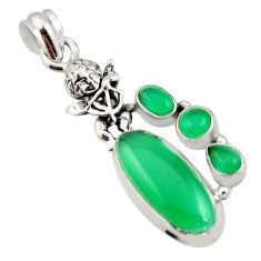 925 sterling silver 9.72cts natural green chalcedony angel pendant r15268