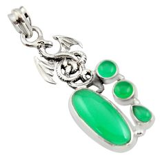 10.89cts natural green chalcedony 925 sterling silver dragon pendant r15270