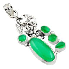 925 sterling silver 11.83cts natural green chalcedony dragon pendant r15272