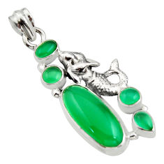 10.71cts natural green chalcedony 925 silver fairy mermaid pendant r15273