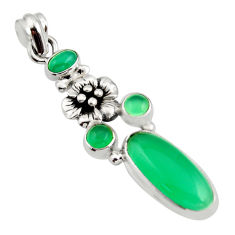 925 sterling silver 10.04cts natural green chalcedony flower pendant r15275