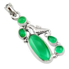 10.54cts natural green chalcedony 925 sterling silver seahorse pendant r15277